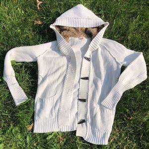 Mossimo CO. Size Xlarge white sweater fur hood